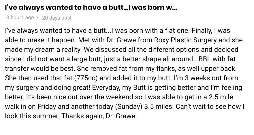 ROXY Plastic Surgery butt augmentation