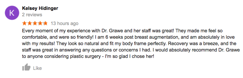 Google Review Breast Augmentation OH
